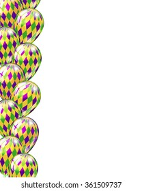 Carnival party or celebration seamless border with balloons  in green, purple, yellow Mardi gras colors, vector illustration