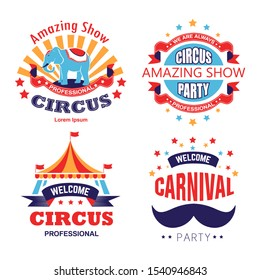 Carnival party and circus show, isolated icons vector. Striped tent and elephant, mustache and stars, entertainment and animals trick. Stage performance and fun fair invitation emblem or logo