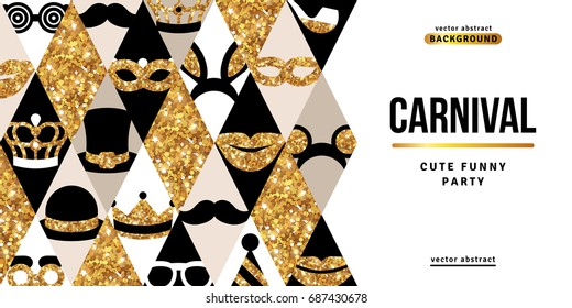 Carnival party creative gold and black banner. Vector illustration. Glittering icons in rhombus. Concept for web and promotion. Funfair trendy funny ticket design