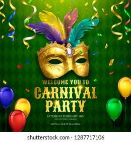 Carnival party design with masks and balloons on green rhombus background in 3d illustration