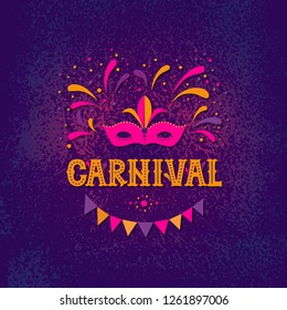 Carnival party design. Vector background with masquerade mask, fireworks and garland. Vector illustration. For poster, card, web, invitation.