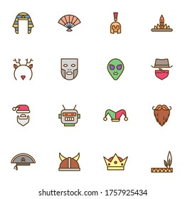 Carnival party filled outline icons set, line vector symbol collection, linear colorful pictogram pack. Signs, logo illustration, Set includes icons as cowboy hat, face mask, alien, pirate, robot