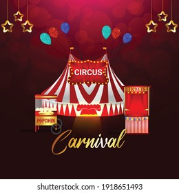 Carnival party greeting card with mask on purple background