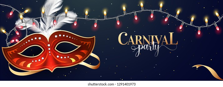 Carnival party header or banner design with illustration of party mask on blue background with illuminated decorative lights.