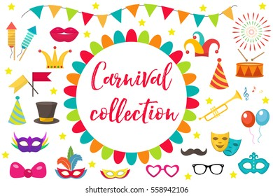 Carnival, party icon set design element. Masquerade, Photo booth in modern flat style. Isolated on white background. Vector illustration, clip art