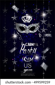 Carnival party invitation card with garlands, sparkling mask and confetti. Vector illustration