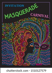 Carnival Party invitation card, Mardi Gras holiday greeting. Vector abstract Masquerade drawing, Lady in mask, feather plume, Baroque scrolls. Neon colored contour doodle sketch on a black background.