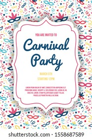 Carnival Party invitation with colorful texture. Vector.