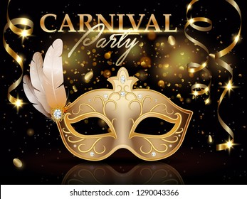Carnival party invitation poster, banner, golden carnival mask decorated with feathers and diamonds, celebration decoration and ribbons, vector illustration