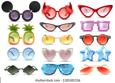 Carnival party masquerade costume glasses heart star cat eye shaped funny sunglasses realistic set isolated vector illustration