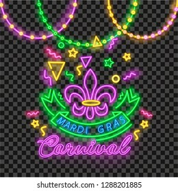 Carnival party in neon style. Vector realistic isolated beads for Mardi Gras for decoration and covering on the transparent background. Concept of Happy Mardi Gras.