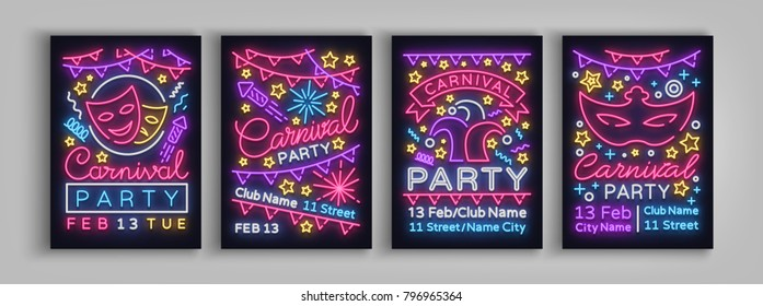 Carnival party is set of posters in neon style. Collection of neon signs, design template, brochure, glowing poster. Bright neon advertising of carnival, masquerade, dance party. Vector illustration