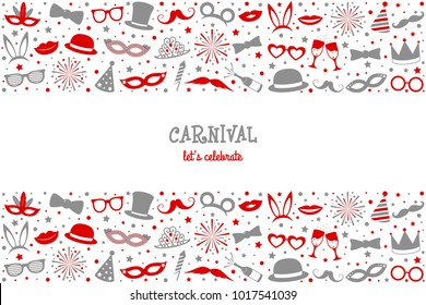 Carnival Party - vintage poster with funny elemnts. Vector.
