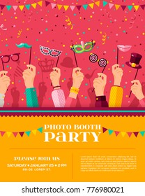 Carnival photo booth party poster, flyer or invitation design. Vector illustration. Hands holding funny masks, confetti. Place for your text message.