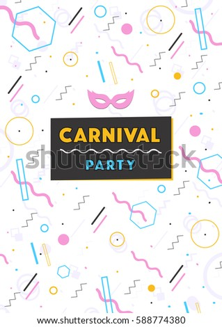 carnival poster. abstract memphis 80s, 90s style retro background with place for text.