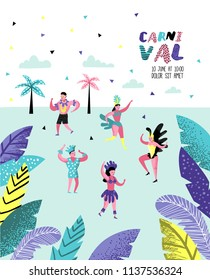 Carnival Poster, Banner, Brochure with Dancing Character People. Masqeurade Party Elements with Masks and Festive Symbols. Vector illustration