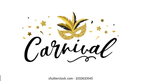 Carnival poster, banner with golden chic party elements - mask, confetti, stars and splashes. Festival concept design