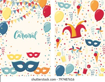 Carnival poster. Jester hat, mask, balloons, windmills, ice cream, cocktails, serpentine, confetti background. Carnival lettering (calligraphy). Place your text. Invitation, card, flyer, banner, frame