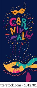 Carnival poster with mask . Hand drawn Carnival. Lettering Festival concept design.