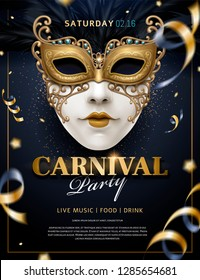 Carnival poster with white mask and streamers in 3d illustration, glitter on blue background
