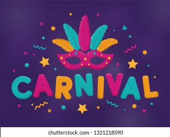 Carnival purple, blue and yellow text with masquerade mask. Venetian carnival, Mardi Gras, Brazil carnaval. Popular Event in Brazil. Carnaval title with colorful party elements. Vector illustration