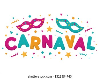 Carnival purple, blue and yellow text with decorated masks. Venetian carnival, Mardi Gras, Brazil carnaval. Popular event in Brazil. Carnaval title with colorful party elements. Vector illustration