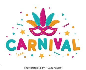 Carnival purple, blue and yellow text with masquerade mask. Venetian carnival, Mardi Gras, Brazil carnaval. Event in Brazil. Carnaval title with colorful party elements. Vector illustration