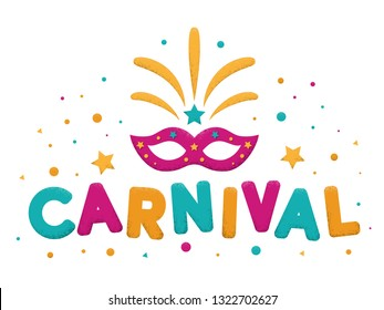 Carnival purple, blue and yellow text with mask and firework. Venetian carnival, Mardi Gras, Brazil carnaval. Popular Event in Brazil. Carnaval title with colorful party elements. Vector illustration