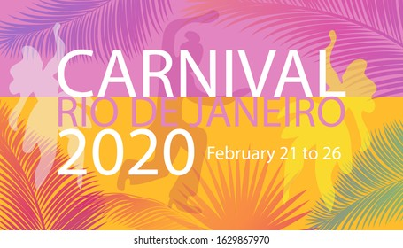Carnival Rio de Janeiro Samba Party festival invitation abstract tropical palm tree leaves 2020 Mardi Gras music ethnic pattern, dancers, exotic floral, jungle Brazil, New Orleans, Courir Notting Hill