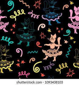 Carnival seamless pattern with funny cartoon cats and hand drawn elements. Perfect for kids apparel design, wall art, poster, fabric textur, new year gift, wrapping paper.Vector Illustration