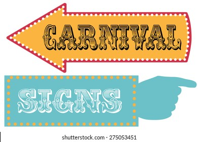 Carnival sign template direction signs with arrow and pointing hand