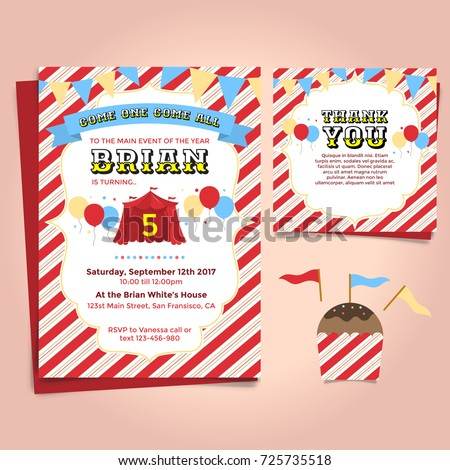 carnival theme birthday party invitation stock vector royalty free