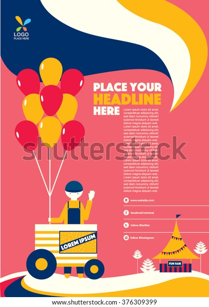 Carnival Theme Magazine Layout Template Design Stock Vector