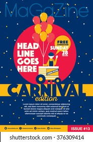 Carnival theme magazine template design invitation/ Amusement park elements info graphic poster design/ Fun fair icons/ Balloons and vendor icons Celebration and party theme card design