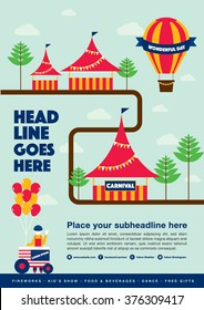 Carnival theme template design invitation/ Amusement park elements info graphic poster design/ Fun fair icons/ Popcorn cart and carnival tent/ Celebration and party theme card design