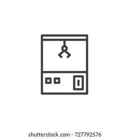 Carnival toy claw crane arcade machine line icon, outline vector sign, linear style pictogram isolated on white. Symbol, logo illustration. Editable stroke