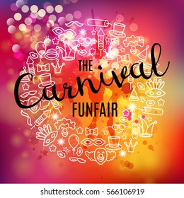 Carnival vector background with line icons and objects