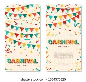 Carnival vertical banners with typography design. Vector illustration. Retro light bulbs font, streamers, confetti and hanging flag garlands.
