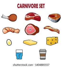 Carnivore diet banner. Template for carnivore diet postcard or cover design. Carnivore meal set. Meat food set.