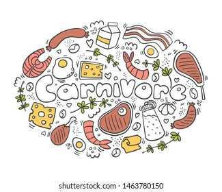 Carnivore diet doodle color. Meet, cheese, eggs, fish, steak, rosemary,pepper. Healthy food. Be carnivore. Diet logo.