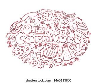 Carnivore diet doodle. Meet, cheese, eggs, fish, steak, rosemary. Healthy food. Be carnivore. Diet logo.