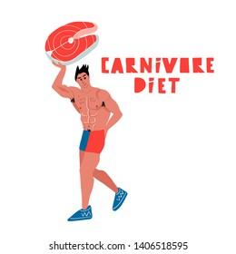 Carnivore diet. Hand drawn white man is holding a peace of salmon. Carnivore diet - hand drawn lettering