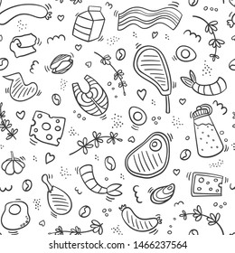 Carnivore diet seamless pattern doodle. Food pattern with pork, meat, shrimp, egg, cheese, sausage, fish, steak,bacon,butter, rosemary. Healthy food. Be carnivore. Outline food pattern.