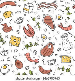 Carnivore diet seamless pattern. Food pattern with pork, meat, shrimp, egg, cheese, sausage, fish, steak,bacon,butter, rosemary. Healthy food texture for textile, linen, fabric. Be carnivore.