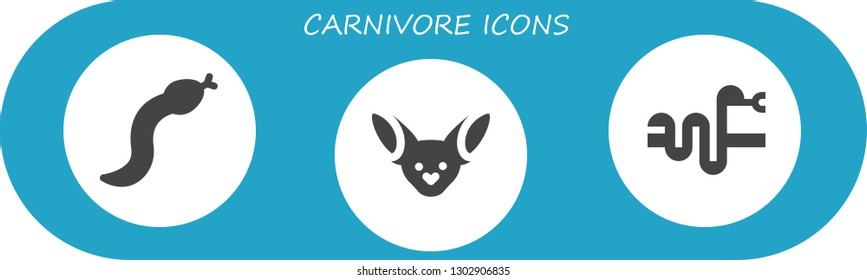 carnivore icon set. 3 filled carnivore icons.  Simple modern icons about  - Snake, Fennec