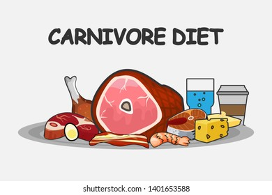 Carnivore lettering banner. Template for carnivore diet postcard or cover design. Carnivore meal set. Meat food set.