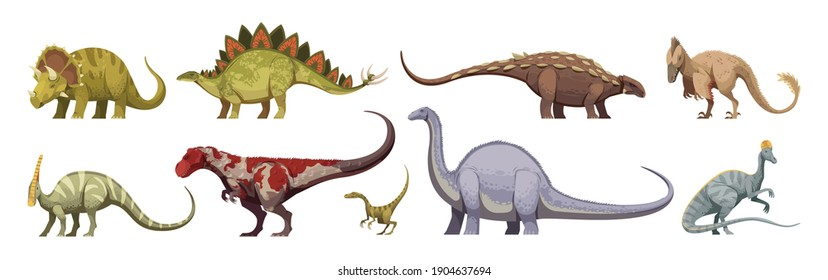 Carnivores and herbivores giants and small animals dinosaurs colored cartoon set isolated on white background vector illustration
