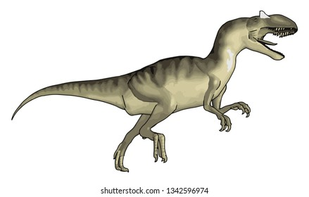 Carnivorous dinausor with sharp teeth and heavy body Having four legs and long tail Now a days sold as a toy vector color drawing or illustration