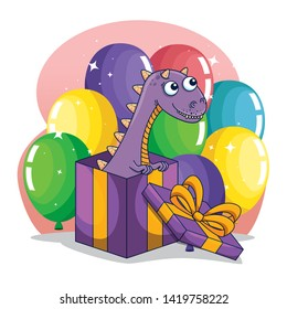 carnotaurus animal inside present with balloons decoration