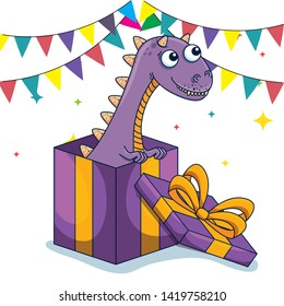 carnotaurus animal inside presents with party banner